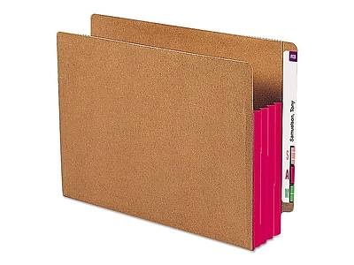 Smead Redrope Drop-Front End Tab File Pockets with Colored Tyvek Gussets, Red, Letter, 10/Box (73686)