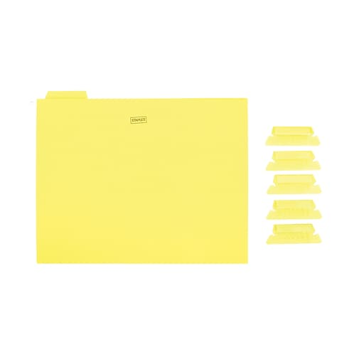 Staples Hanging File Folders, 5-Tab, Letter Size, Yellow, 25/Box (163519)
