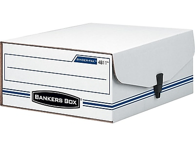 Bankers Box Liberty Binder-Pak Basic Duty Check & Voucher Corrugated Box with Snap Closure, White/Blue (48110)