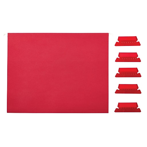 Staples Hanging File Folders, 5-Tab, Letter Size, Red, 25/Box (163535)