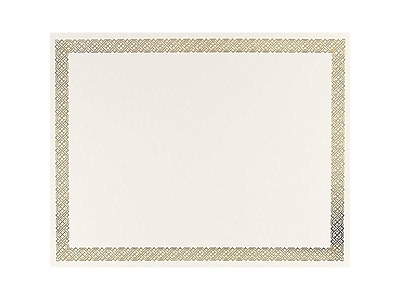 Great Papers Braided Foil 8.5 x 11 Certificates, Beige/Gold, 15/Pack (963006)