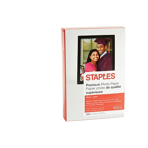"Staples Premium Glossy Photo Paper, 4"" x 6"", 100/Pack (17673-CC)"