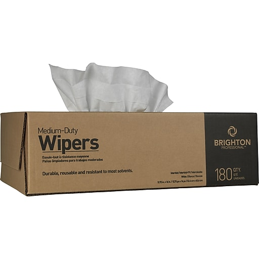Brighton Professional Nylon Wipers, White, 180/Carton (BPR24347)