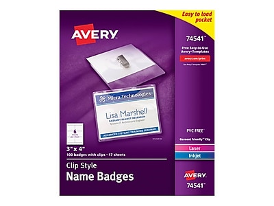 Avery ID Badge Holders, Clear with White Inserts, 100/Box (74541)