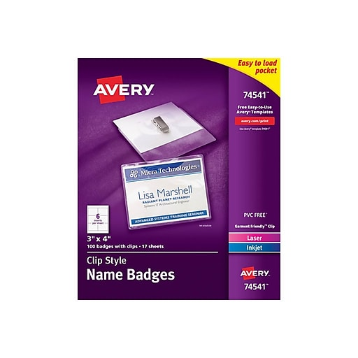 avery id badge holders clear with white inserts 100box 74541