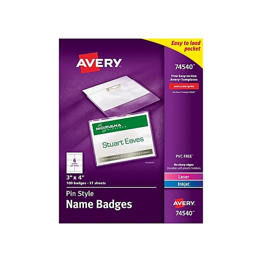 c90a9e62b54e Avery® 74540 Top-Loading Pin-Style Name Badges, 3