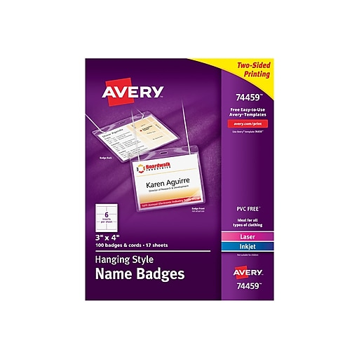Avery ID Badge Holders, Clear with White Inserts, 100/Box (74459)