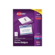 Avery ID Badge Holders, Clear with White Inserts, 50/Box (74536)