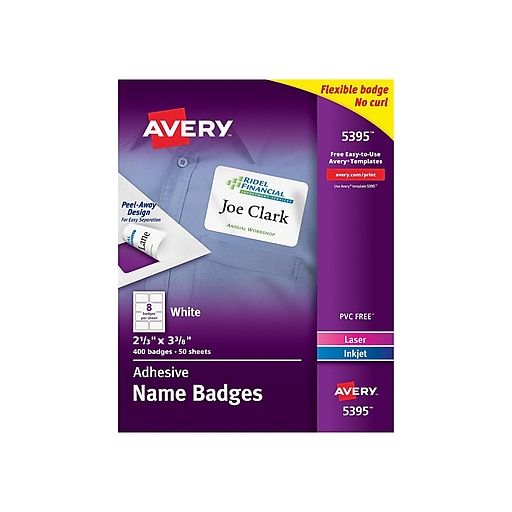 Avery Self Adhesive Name Tag Labels White 2 13 X 3 38 400pack