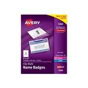 Avery Sticker ID Badge Holders, Clear with White Inserts, 40/Box (5384)