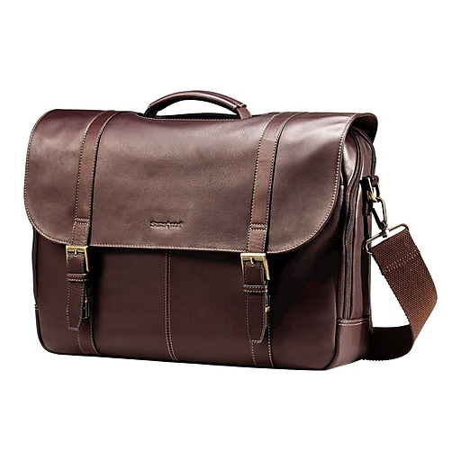 edd388dd5791 Samsonite Flapover Case Double Gusset Laptop Notebook, Brown  Leather(45798-1139)