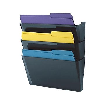 Staples 3-Pocket Plastic Wall File, Smoke Blue (10681)