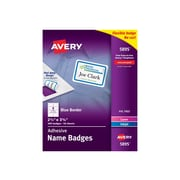Avery Sticker Name Tags/Labels, White with Blue Border, 400/Box (5895)