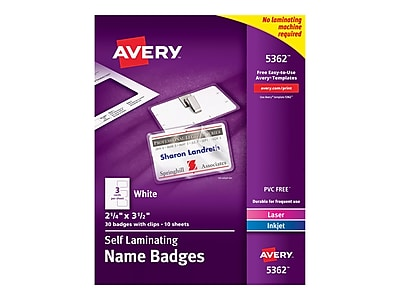 Avery ID Cards, White, 30/Box (5362)