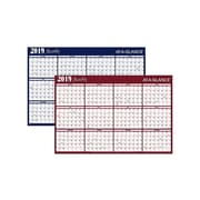 "2019 AT-A-GLANCE 32""H x 48""W Wall Calendar, XL 2-Sided, Red/Blue (A152-19)"