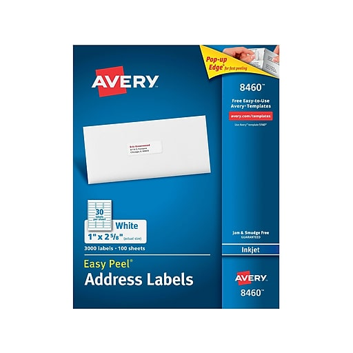 Avery 1 X 2 58 Inkjet Address Labels With Easy Peel White 3000