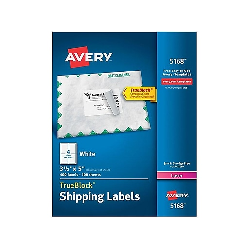 avery trueblock laser shipping labels 35 x 5 white 400