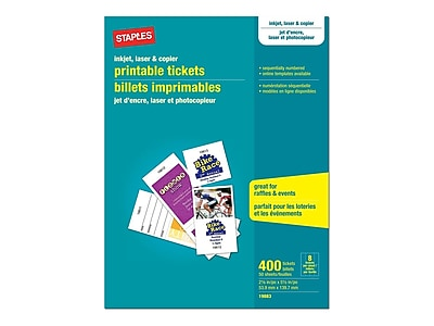 photograph regarding Printable Tickets named Staples Matte White Printable Tickets, 2.13\