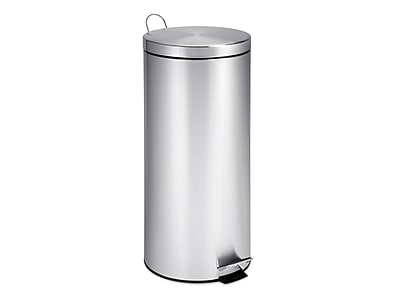 Honey-Can-Do Indoor Step Trash Can, Silver Stainless Steel, 7.93 Gal. (TRS-02110)