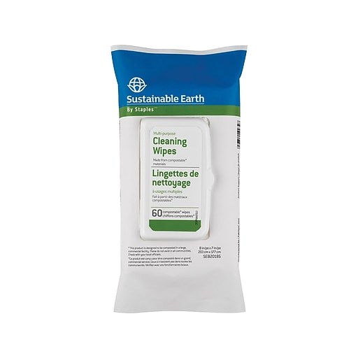 sustainable earth by staples multipurpose cleaning wipes 60 wipes