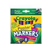 Crayola Poster Washable Markers, Chisel, Assorted Colors, 8/Box (58-8173)