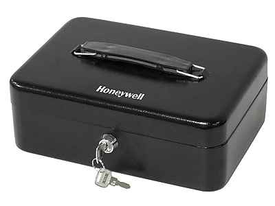 Honeywell Standard Cash Box, 6 Compartments, Black