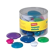 Staples Magnets, Assorted Colors, 30/Pack (40085-CC)