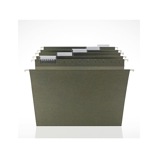 Staples Hanging File Folders, 5-Tab, Letter Size, Standard Green, 250/Box (116764CT)