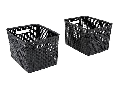 Advantus Large Weave Plastic Bin, Black, 2/Pack
