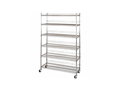 Wire Shelves With Wheels   Heavy Duty Utility Rack With 6 Shelves And Casters Chrome Staples