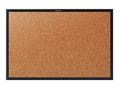 Quartet Classic Cork Bulletin Board, Black Frame, 3' x 2' (2303B)