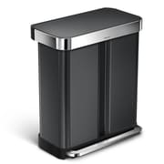 simplehuman 15.3 Gal dual compartment rectangular step trash can w/liner pocket, recycling trash can, black stainless steel