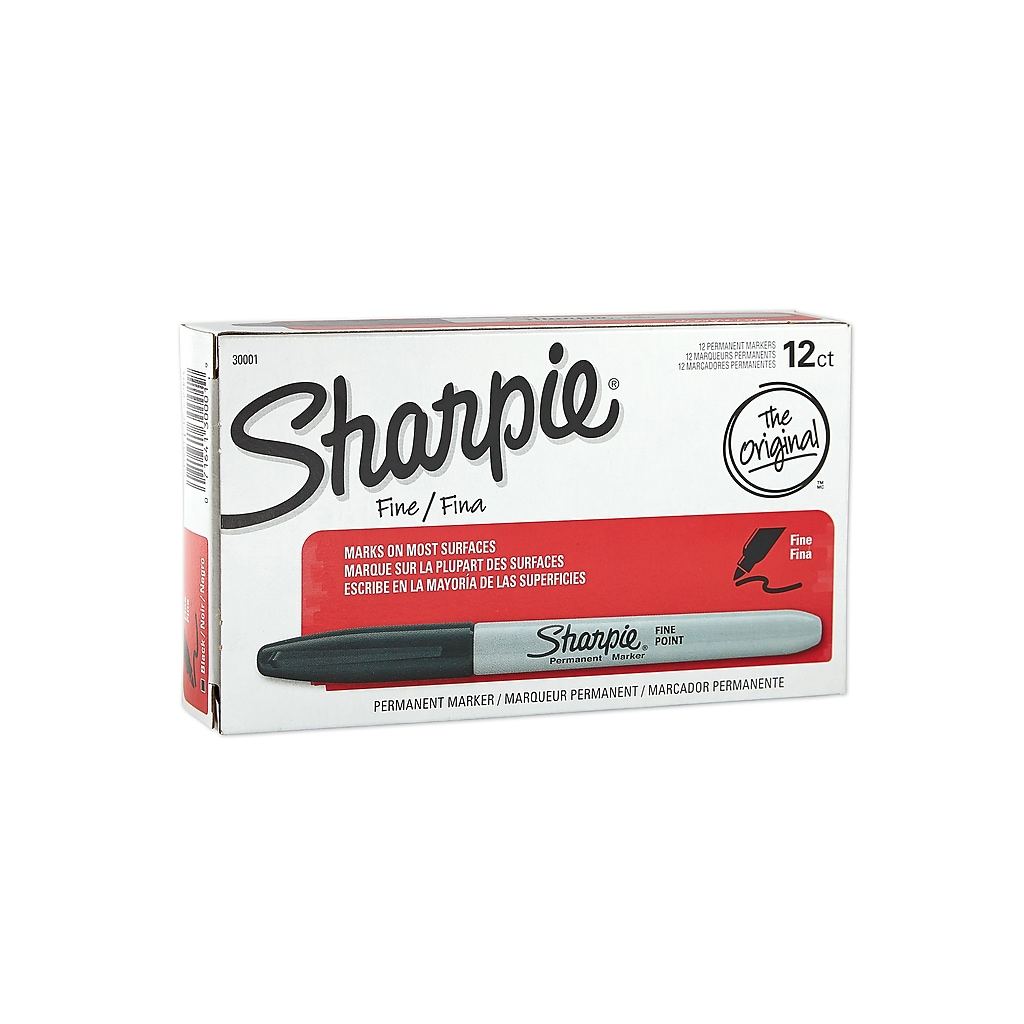 Sharpie Permanent Marker, Fine Point, Black, 12/Pack (30001)