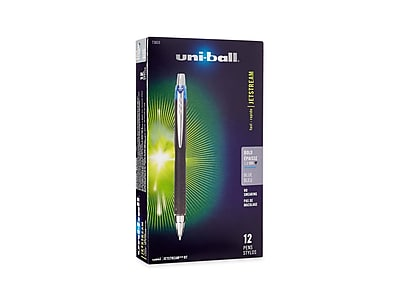 uni-ball JETSTREAM RT Retractable Rollerball Pens, Bold Point, Blue Ink, 12/Pack (73833)