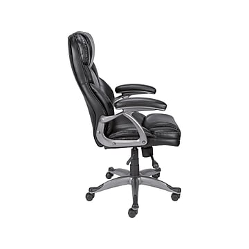 Staples Osgood High-Back Bonded Leather Manager Chair, Black (21076)