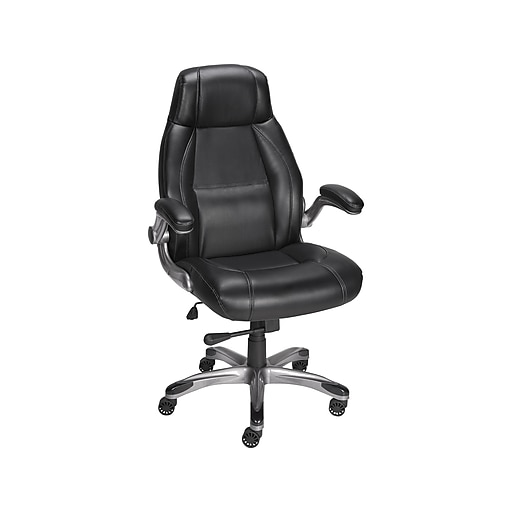 Staples Torrent Bonded Leather Manager Chair Glossy Black 51283 20224 At Staples