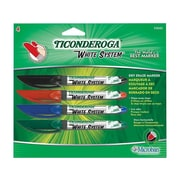 Ticonderoga System Dry Erase Markers, Fine Point, Assorted, 4/Set (93040)
