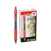Pilot G2 Retractable Gel Pens, Fine Point, Red Ink, 12/Pack (31022)