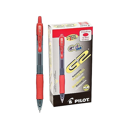 0.7 mm 6 Count Pilot G2 Premium Retractable Gel Roller Ball Pens Fine Point