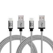Rhino micro USB  Cable -6.6 Feet Grey - Tough-Braided Extra-Strong Jacket - Sync/Charge,  5000+ Bend Lifespan  - 2PK