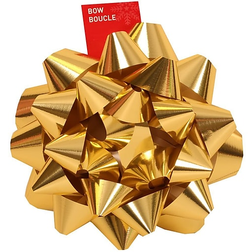 "JAM Paper® Gift Bows, Giant, 13"" Diameter, Gold, 6/carton"