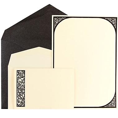 JAM Paper® Wedding Invitation Combo Set, 1 Small & 1 Large, Ecru Scroll Border Cards with Black Metallic Envelopes, 150/pack