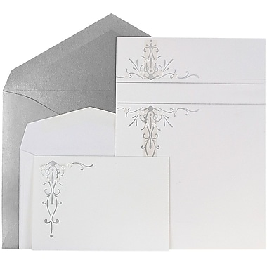 JAM Paper® Wedding Invitation Combo Set, White Silver Floral Cards with Silver Envelopes, 150/Pack (5268142SICO)