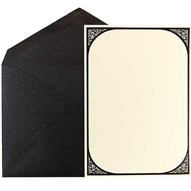 JAM Paper® Wedding Invitation Set, Ecru Scroll Border Cards with Black Metallic Envelopes, 50/Pack