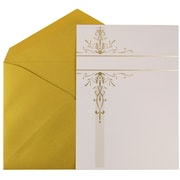"JAM Paper® Wedding Invitation Set, Large, 5 1/2"" x 7 3/4"", Ecru Gold Floral Design Cards with Gold Envelopes, 50/pack"