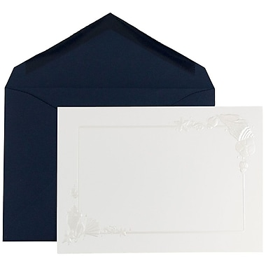 JAM Paper® Wedding Invitation Set, White Embossed Beach Border Cards with Cobalt Blue Envelopes, 50/Pack