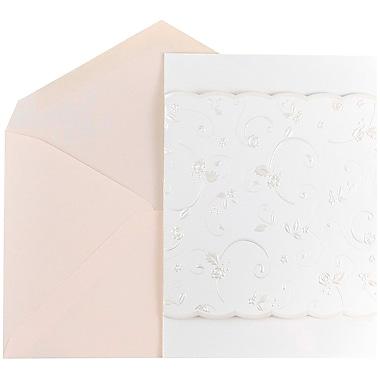 JAM Paper® Wedding Invitation Set, Large, White Floral Border Cards with Soft Pink Envelopes, 50/Pack (526861PI)