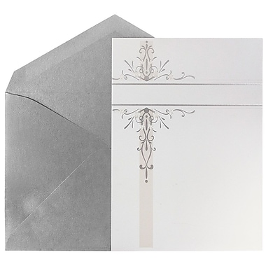 JAM Paper® Wedding Invitation Set, White Silver Floral Design Cards with Silver Envelopes, 50/Pack (5268142SI)