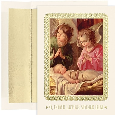 JAM Paper® Christmas Card Set, Adoration of the Magi Holiday Cards, 16/Pack (526M1198MB)