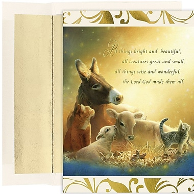 JAM Paper® Christmas Card Set, All Creatures Holiday Cards, 16/pack